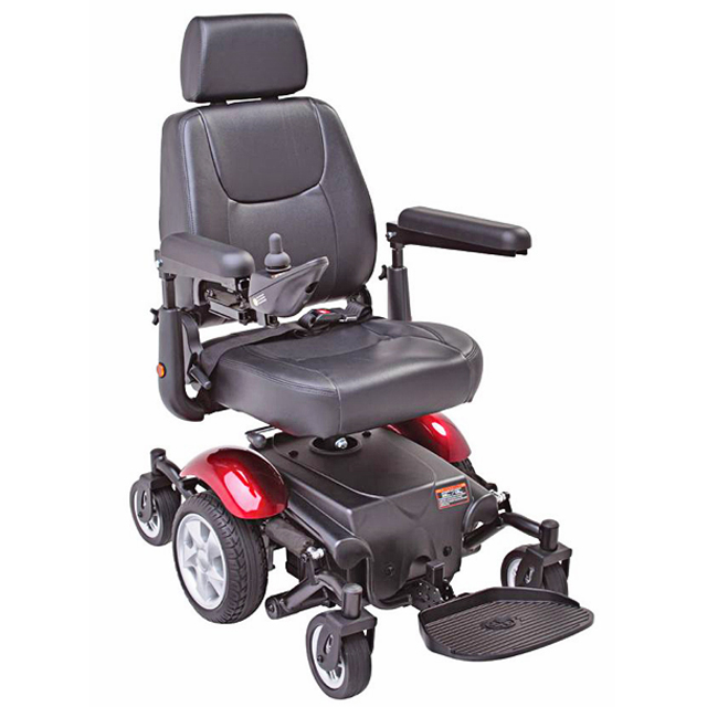 Electric Mobility Rascal 327 Mini Powerchair - Red, Three Quarter View