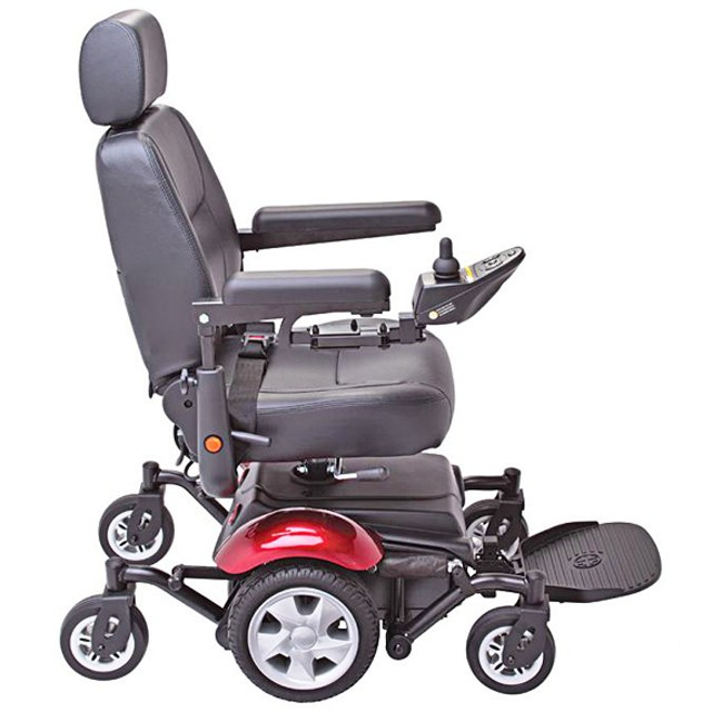 Electric Mobility Rascal 327 Mini Powerchair - Red, Side View