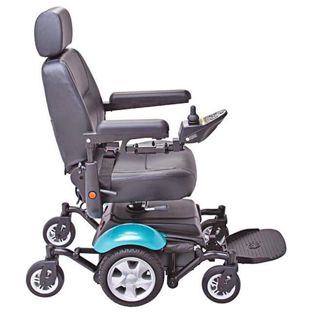 Electric Mobility Rascal 327 Mini Powerchair - Teal, Side View