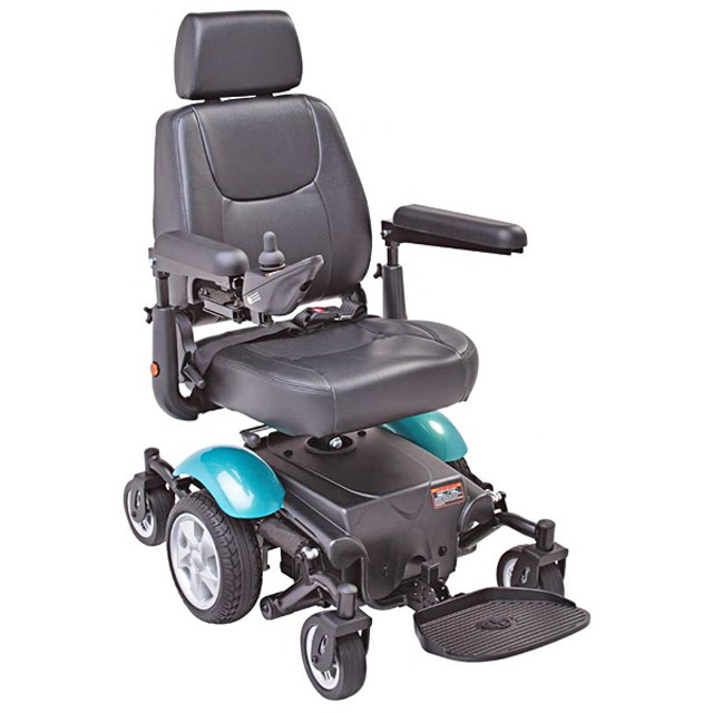 Electric Mobility Rascal 327 Mini Powerchair - Teal, Three Quarter View