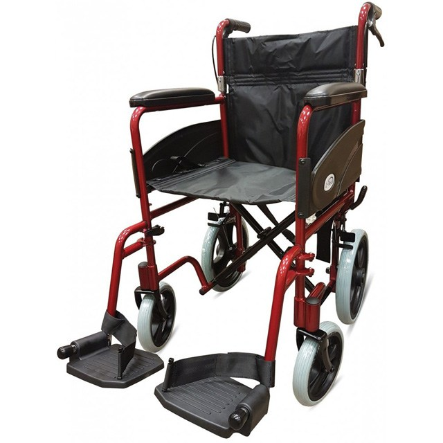 Z-Tec Folding Transit 601X Wheelchair - Aluminium With Attendant Brakes (Red)