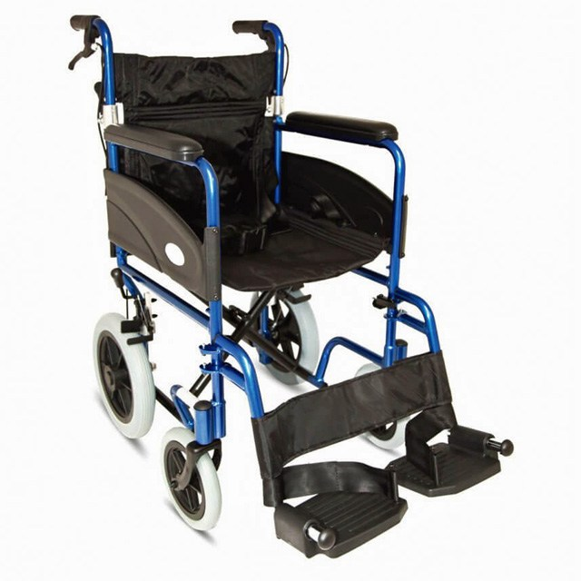 Folding Aluminium Transit Wheelchair (Wide Seat) - Metallic Blue
